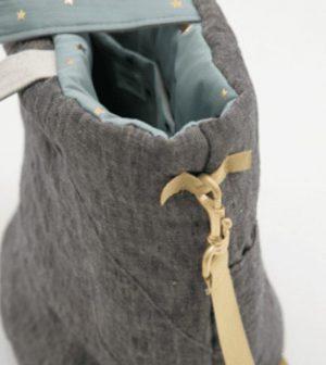 irish linen walking bag in yellow navy linen