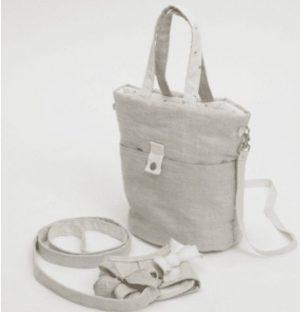 irish linen walking bag in natural linen