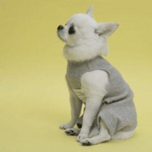 Organic Dog Romper in Melange Grey