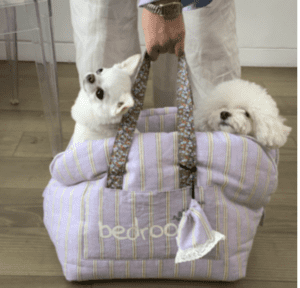 dog bag in lavendar stripes