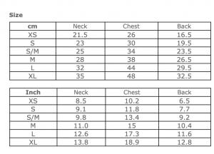 Vera Dog Dress Couture Size Chart
