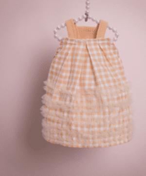 ShaSha Dog Dress in Peach Gingham