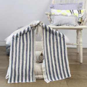 striped linen peekaboo couture dog bed