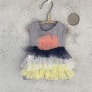 organic tiered tulle t-shirt dog dress