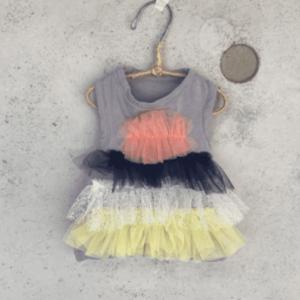 organic tiered tulle t-shirt dog dress