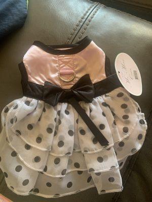 clearance pink and polka dot ruffled dog dress
