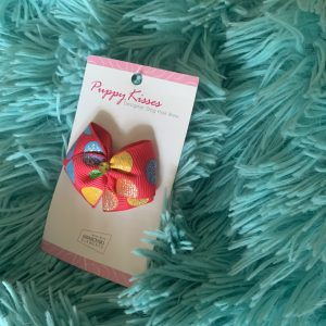 PInk and Multi Colored Dots Dog Hair Bow