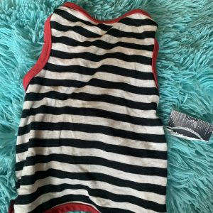 blue and white striped dog tee