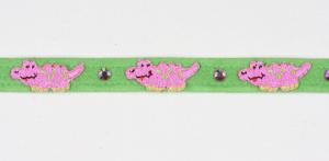 pink alligator embroidered dog collar