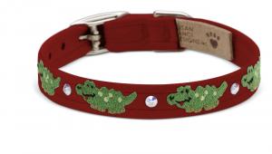 green alligator embroidered dog collar