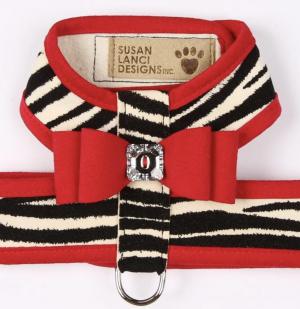 two tone big bow tinkie dog harness