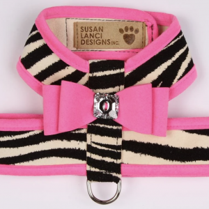 two tone big bow tinkie dog harness