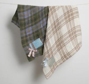 linen plaid dog blanket