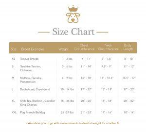 Zampa Couture Size Chart