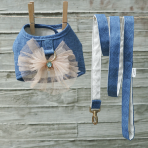 blue crush denim dog harness set