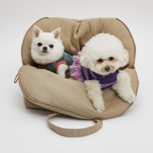 flat white around dog bag